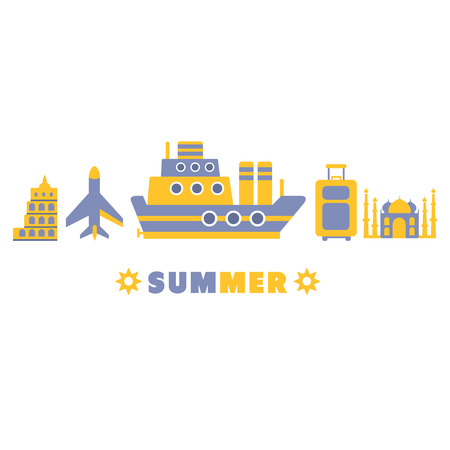 themed: Summer Cruise In Europe Symbols Set By Five In Line Blue And Yellow Clipart Vector illustration On White Background