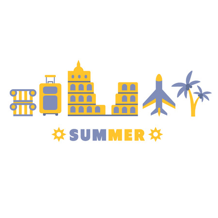 sightseeing: Sightseeing Summer Symbols Set By Five In Line Blue And Yellow Clipart Vector illustration On White Background Illustration