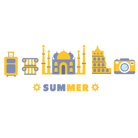 themed: Touristic Summer Vacation Symbols Set By Five In Line Blue And Yellow Clipart Vector illustration On White Background