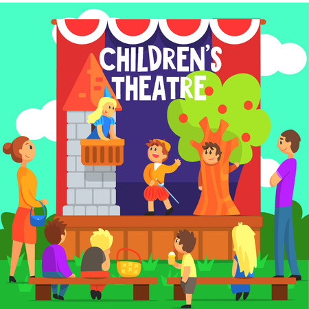 theatrical performance: Amateur Children Theatre Performance Of A Fairy Tale. Theatrical Stage Outdoors With Kids Actors Colorful Vector Illustration In Simple Cartoon Manner.