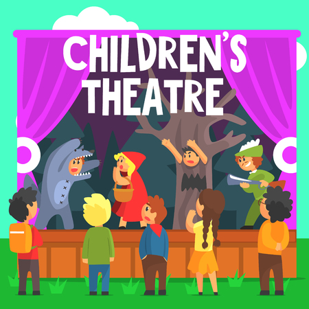 actors: Amateur Children Theatre Performance Of A Red Hood Fairy Tale. Theatrical Stage Outdoors With Kids Actors Colorful Vector Illustration In Simple Cartoon Manner.