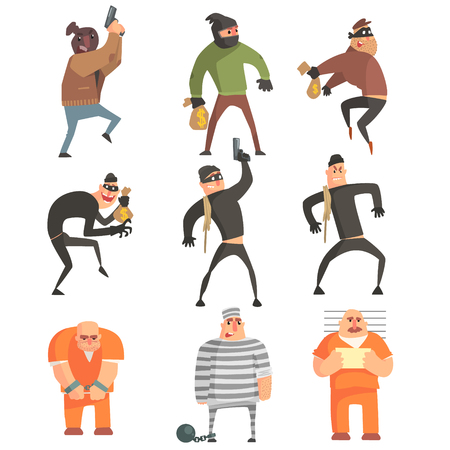 Criminals And Convicts Funny Characters Set. Cartoon Fun Style Vector Illustrations Isolated On White Background. Illustration