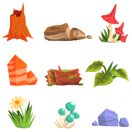 uneatable: Forest Landscape Natural Elements, Plants And Mushrooms. Isolated Cartoon Style Simple Illustrations Set On White Background.