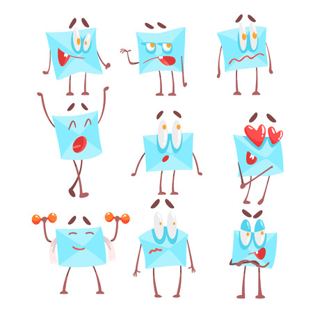 envelop: Letter Envelop Cartoon Character Emotion Illustrations Set. Flat Comic Drawings Of Bright Color Isolated On White Background.