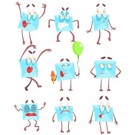 Mail Envelop Cartoon Character Emotion Illustrations Set. Flat Comic Drawings Of Bright Color Isolated On White Background.