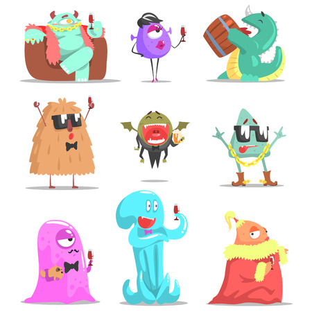 attending: Monsters Attending Posh Glamorous Party. Funky Creatures Colorful Characters With Party Attributes On White Background.
