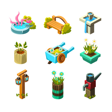 Video Game Garden Landscape Design Collection Of Elements In Cute Vector Childish Style Isolated On White Background