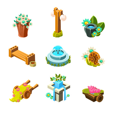 borne fontaine: Jeu Vidéo Garden Landscape Decoration Collection Of Elements In Cute Vector Childish Style Isolated On White Background