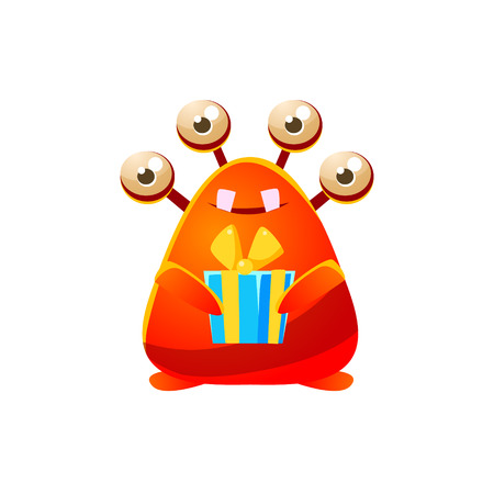 attribute: Red Toy Monster Holding Wrapped Gift Cute Childish Illustration. Cartoon Colorful Alien Character With Party Attribute Isolated On White Background.