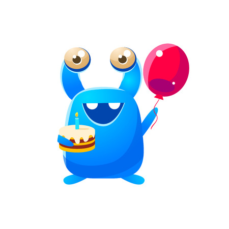 attribute: Blue Toy Monster Holding A Balloon And Cake Cute Childish Illustration. Cartoon Colorful Alien Character With Party Attribute Isolated On White Background.