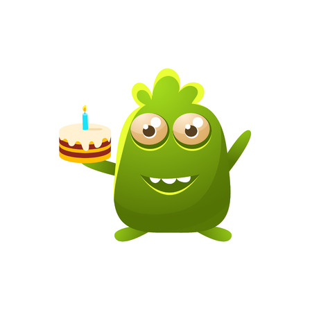 the attribute: Green Toy Monster With Birthday Cake Cute Childish Illustration. Cartoon Colorful Alien Character With Party Attribute Isolated On White Background.