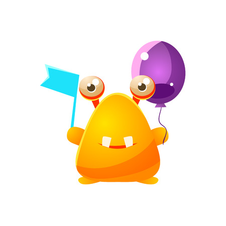 attribute: Yellow Toy Monster With Flag And Balloon Cute Childish Illustration. Cartoon Colorful Alien Character With Party Attribute Isolated On White Background. Illustration