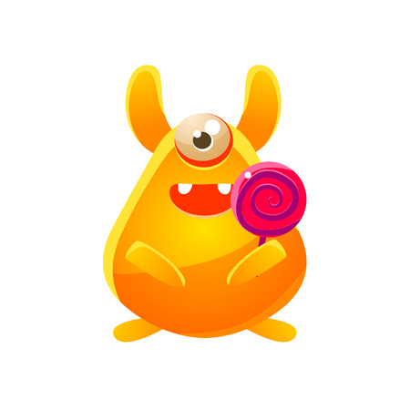 attribute: Yellow Toy Monster With Candy Cute Childish Illustration. Cartoon Colorful Alien Character With Party Attribute Isolated On White Background.