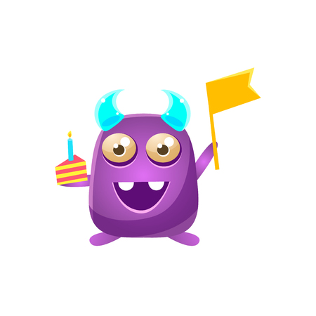 the attribute: Purple Toy Monster With Horns Holding Flag And Piece Of Cake Cute Childish Illustration. Cartoon Colorful Alien Character With Party Attribute Isolated On White Background.