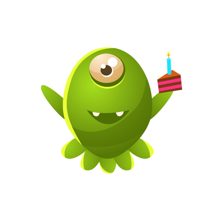 attribute: Green One-eyed Toy Monster With Slice Of Cake Cute Childish Illustration. Cartoon Colorful Alien Character With Party Attribute Isolated On White Background. Illustration