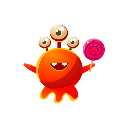 the attribute: Red Three-Eyed Toy Monster With Lollypop Cute Childish Illustration. Cartoon Colorful Alien Character With Party Attribute Isolated On White Background.