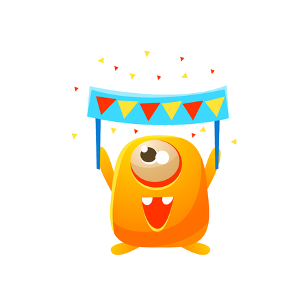 attribute: Orange Toy Monster With Party Banner Cute Childish Illustration. Cartoon Colorful Alien Character With Party Attribute Isolated On White Background. Illustration
