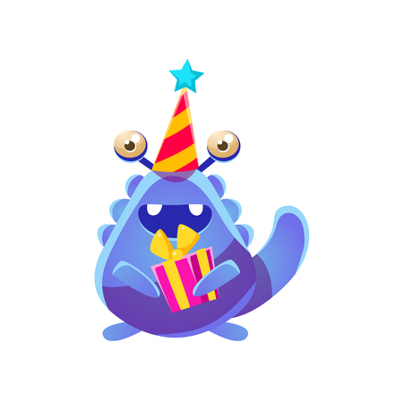 attribute: Blue Toy Monster In Party Hat With Present Cute Childish Illustration. Cartoon Colorful Alien Character With Party Attribute Isolated On White Background.