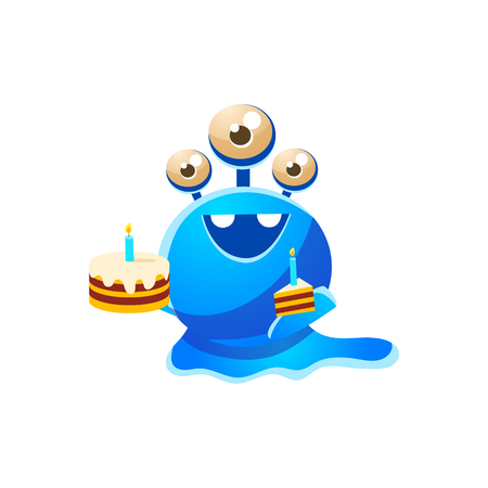 the attribute: Blue Three-Eyed Toy Monster With Full Birthday Cake And A Slice Cute Childish Illustration. Cartoon Colorful Alien Character With Party Attribute Isolated On White Background. Illustration