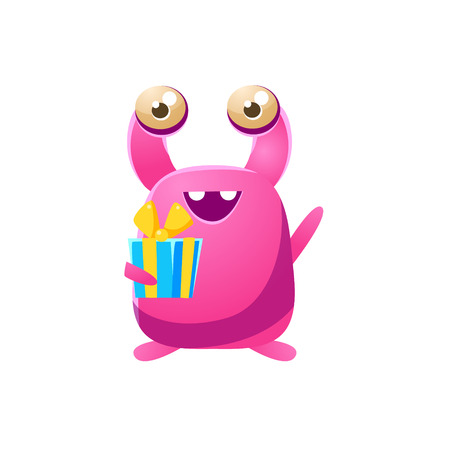 the attribute: Pink Toy Monster With Birthday Present Cute Childish Illustration. Cartoon Colorful Alien Character With Party Attribute Isolated On White Background.