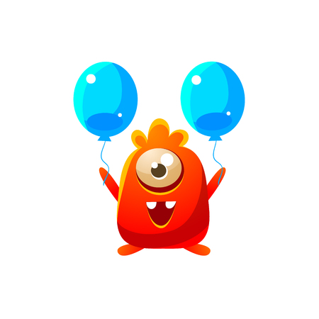 the attribute: Red Toy Monster With Two Balloons Cute Childish Illustration. Cartoon Colorful Alien Character With Party Attribute Isolated On White Background.