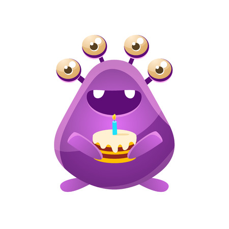 the attribute: Purple Toy Monster With Birthday Cake Cute Childish Illustration. Cartoon Colorful Alien Character With Party Attribute Isolated On White Background.