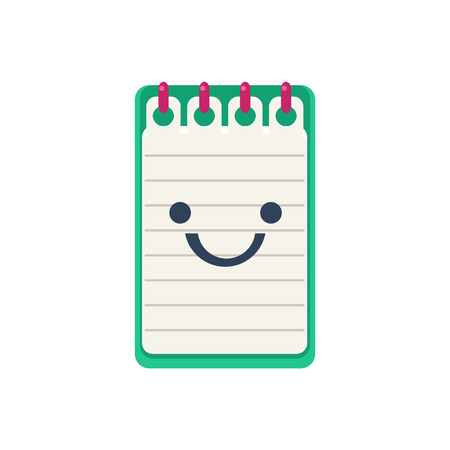 office block: Open Block Note Primitive Icon With Smiley Face. Office Or School Desk Supply Sticker In Simplified Childish Cartoon Vector Design Isolated On White Background