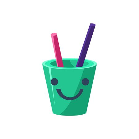 simplified: Pencil Holder Cup Primitive Icon With Smiley Face. Office Or School Desk Supply Sticker In Simplified Childish Cartoon Vector Design Isolated On White Background Illustration