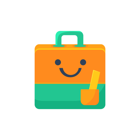 simplified: Handbag With Pocket Primitive Icon With Smiley Face. Office Or School Desk Supply Sticker In Simplified Childish Cartoon Vector Design Isolated On White Background Illustration