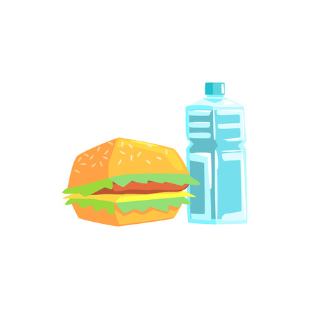 Burger And Water Lunch Set Items Cool Colorful Vector Illustration In Stylized Geometric Cartoon Design