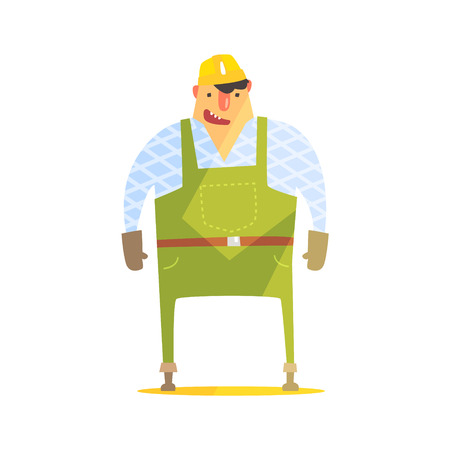 dungarees: Builder In Hard Hat On Construction Site. Graphic Design Cool Geometric Style Isolated Character On White Background