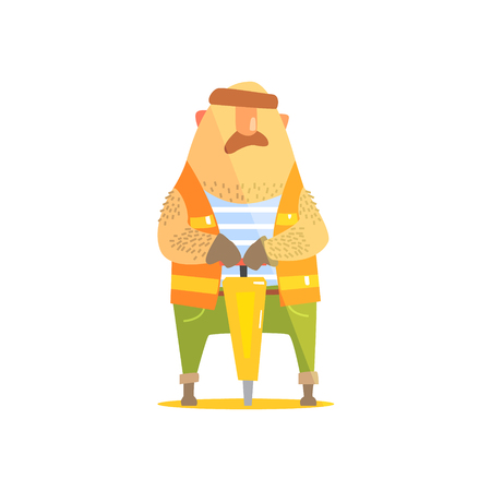 plugger: Builder With Jackhammer On Construction Site. Graphic Design Cool Geometric Style Isolated Character On White Background Illustration