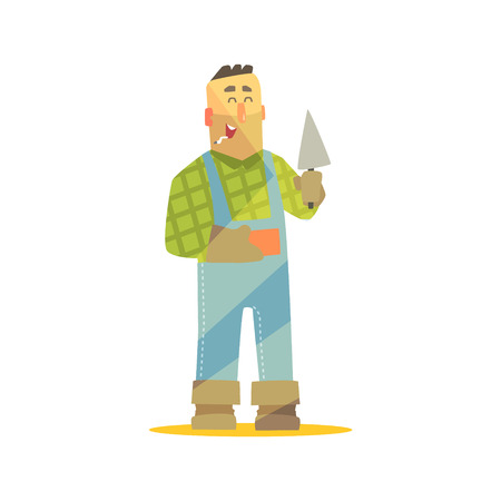 checked: Builder With Brick And Trowel On Construction Site. Graphic Design Cool Geometric Style Isolated Character On White Background