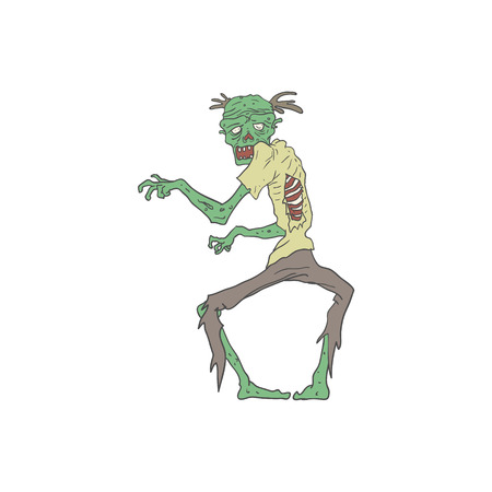 rotting: Green Skin Creepy Zombie With Rotting Flesh Outlined Hand Drawn Adult Style Illustration Isolated On White Background
