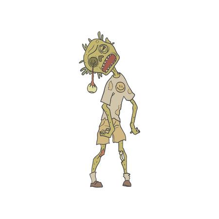 creepy hand: Child Creepy Zombie With Rotting Flesh Outlined Hand Drawn Adult Style Illustration Isolated On White Background Illustration
