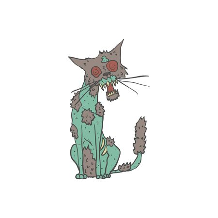 Cat Creepy Zombie With Rotting Flesh Outlined Hand Drawn Adult Style Illustration Isolated On White Background Illustration