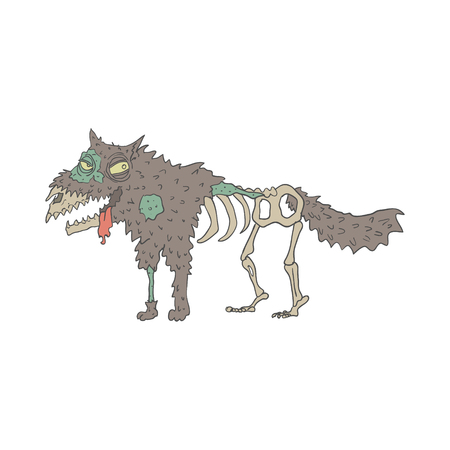 disgusting animal: Dog Creepy Zombie With Rotting Flesh Outlined Hand Drawn Adult Style Illustration Isolated On White Background