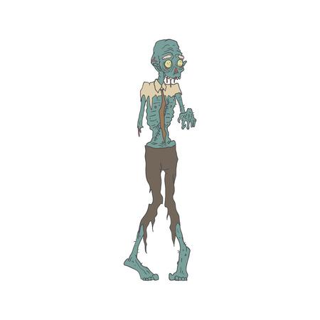 Espeluznante del zombi Lazo que desgasta Con Carne pútrida contorneado dibujado mano del estilo adulto Ilustración aislada sobre fondo blanco Ilustración de vector