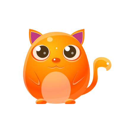character design: Cat Baby Animal In Girly Sweet Style. Bright Color Vector Icon Isolated On White Background. Cute Childish Animal Character Design.