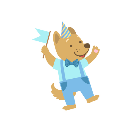 attending: Puppy Cute Animal Character Attending Birthday Party. Childish Cartoon Style Animal Dressed In Human Clothes Vector Sticker Illustration