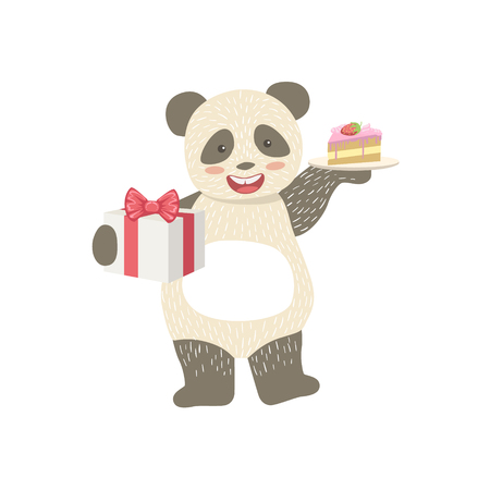 attending: Panda Cute Animal Character Attending Birthday Party. Childish Cartoon Style Animal With Celebration Attributes Vector Sticker