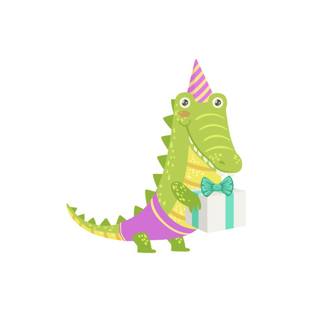attending: Crocodile Cute Animal Character Attending Birthday Party. Childish Cartoon Style Animal Dressed In Human Clothes Vector Sticker