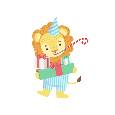 attending: Lion Cute Animal Character Attending Birthday Party. Childish Cartoon Style Animal Dressed In Human Clothes Vector Sticker