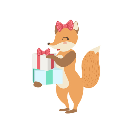 attending: Fox Cute Animal Character Attending Birthday Party. Childish Cartoon Style Animal With Celebration Attributes Vector Sticker Illustration