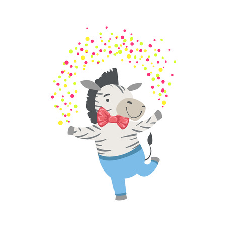attending: Zebra Cute Animal Character Attending Birthday Party. Childish Cartoon Style Animal Dressed In Human Clothes Vector Sticker