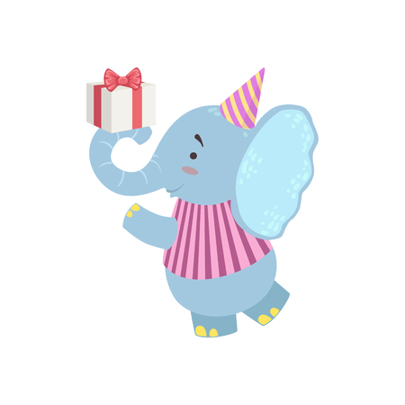 attending: Elephant Cute Animal Character Attending Birthday Party. Childish Cartoon Style Animal Dressed In Human Clothes Vector Sticker Illustration