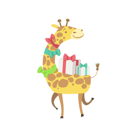 attending: Giraffe Cute Animal Character Attending Birthday Party. Childish Cartoon Style Animal With Celebration Attributes Vector Sticker Illustration