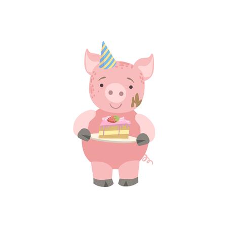Cerdo carácter lindo del animal Asistir fiesta de cumpleaños. Animal del estilo de dibujos animados infantiles con la celebración de atributos de la etiqueta engomada del vector
