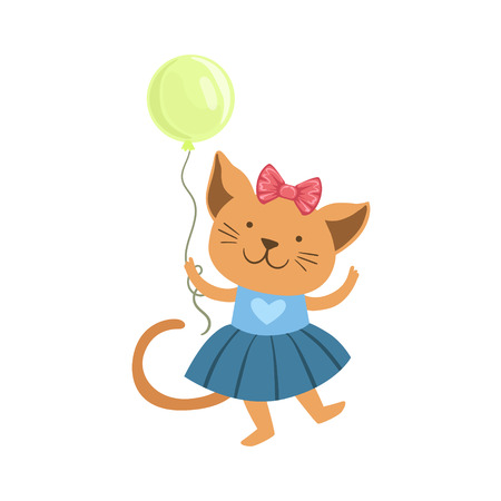 Cat Cute Animal Character Attending Birthday Party. Childish Cartoon Style Animal Dressed In Human Clothes Vector Sticker Illustration