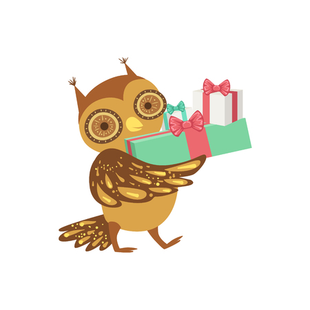 attending: Owl Cute Animal Character Attending Birthday Party. Childish Cartoon Style Animal With Celebration Attributes Vector Sticker Illustration
